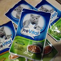 Отдается в дар Корм для кошек PreVital (влажный, 5 пакетиков)