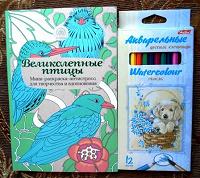 Отдается в дар Раскраска-антистресс и цветные карандаши