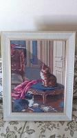 Отдается в дар Картина с котиками вышитая на подарок к Новому году
