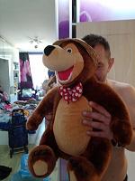 Отдается в дар Мишка из Маши и медведь. Смеётся.