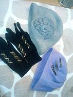 Отдается в дар Женские головные уборы — шапка-шляпка и берет + трикотажные перчатки.