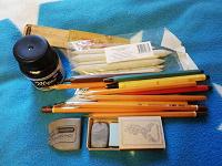Отдается в дар растушевка, наждачная точилка, тушь, цанговый карандаш