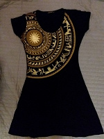 Отдается в дар Вискозное платье чёрное с золотом, размер S, 44