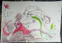 Отдается в дар Картина «Схватка художника со смертью», А3