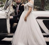 Отдается в дар Жемчужное свадебное платье с корсетом Размер: 44–46 (M)