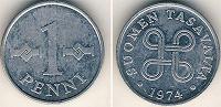 Отдается в дар Монета 1 пенни Финляндия 1974год