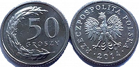 Отдается в дар Монета 50 грошей Польша 2014год
