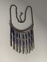 Отдается в дар Колье, украшение, бусы голубо-синие с бисером (бижутерия)