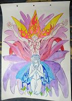 Отдается в дар Картина «Солнце и Луна» А3