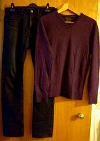 Отдается в дар Джинсы черные 31-32 и пуловер лиловый разм.48