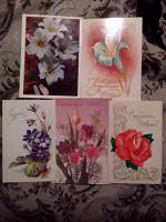 Отдается в дар Открытки-поздравления с цветами