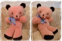Отдается в дар Мишка медведь розовый СССР 65см
