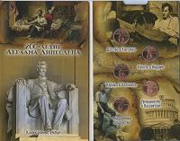 Отдается в дар Набор монет 2009 года Жизнь Линкольна в буклете