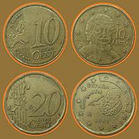 Отдается в дар две евромонеты: 10 и 20 ец