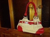 Отдается в дар сумка натурального льняного цвета, ткань с красной отделкой