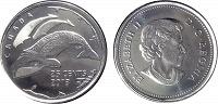 Отдается в дар Монета квотер Канады, с гренландским китом.