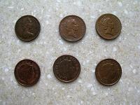 Отдается в дар монеты Великобритания 1 пенни 6 шт.