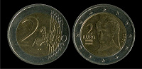 Отдается в дар 2 евро (2002, Австрия)
