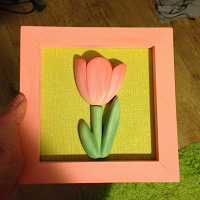 Отдается в дар Картина с объемным тюльпаном