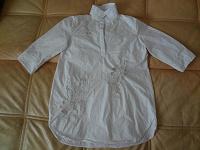 Отдается в дар белая хлопковая блузка с вышивкой и аппликацией