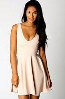 Отдается в дар Пудровое платье с пышной юбочкой Boohoo 12 UK