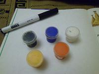 Отдается в дар Акриловые краски и маркер водный, черный